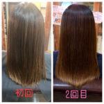 髪質改善トリートメントの改善具合はこんな感じ。