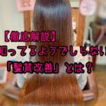【徹底解説】知ってるようでしらない「髪質改善」とは?