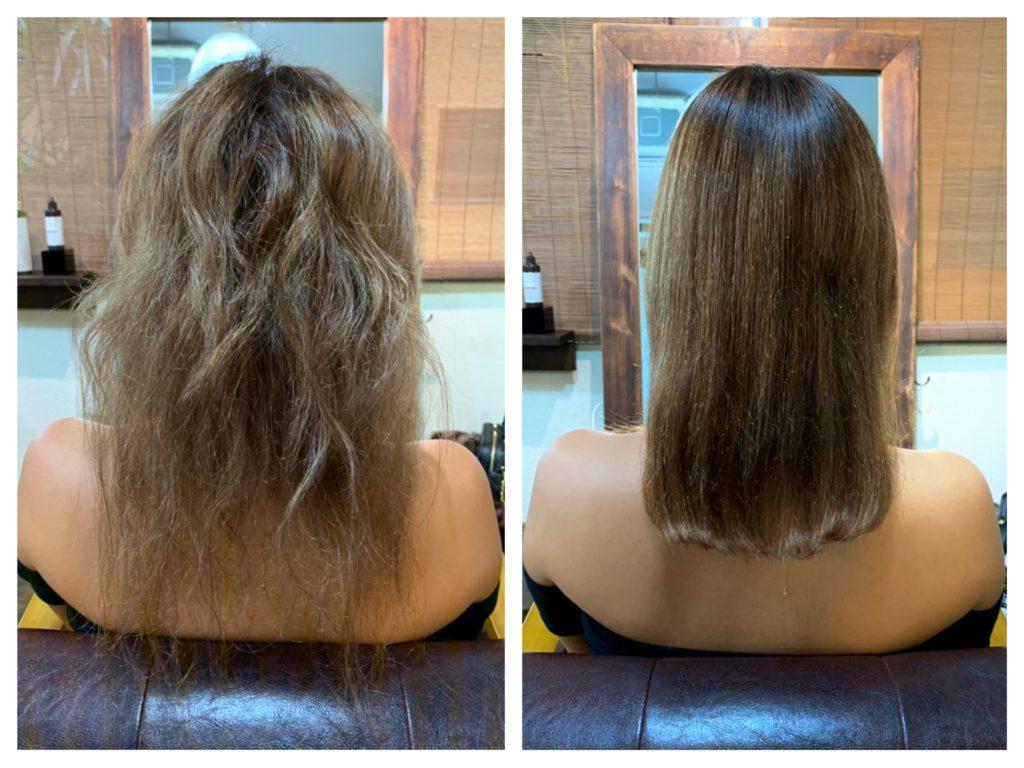 髪質改善ストレートビフォーアフター ハイライト毛