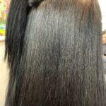 髪質改善ストレートのビフォーアフター。
