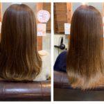 髪質改善トリートメントのビフォーアフター。