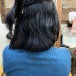 髪質改善ストレートとカットのビフォーアフター。