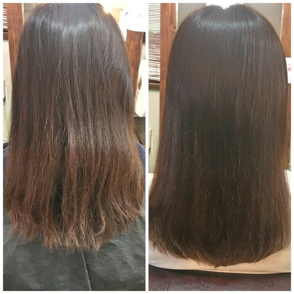 髪質改善トリートメント2回目来店時ビフォーアフター