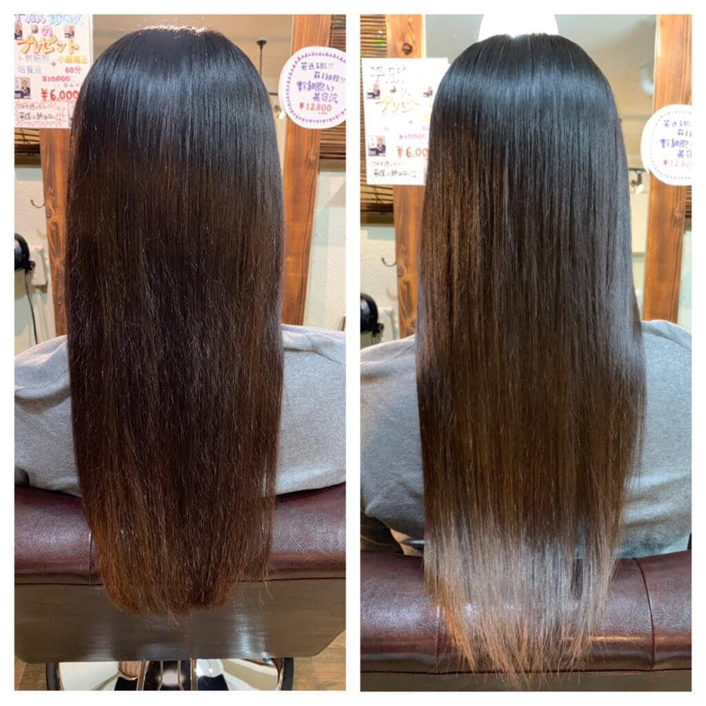 髪質改善トリートメント9回目来店時ビフォーアフター