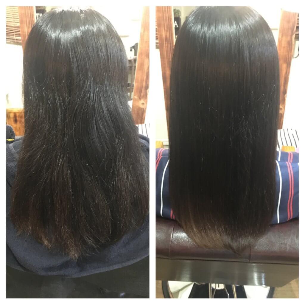 髪質改善トリートメント5回目来店時ビフォーアフター